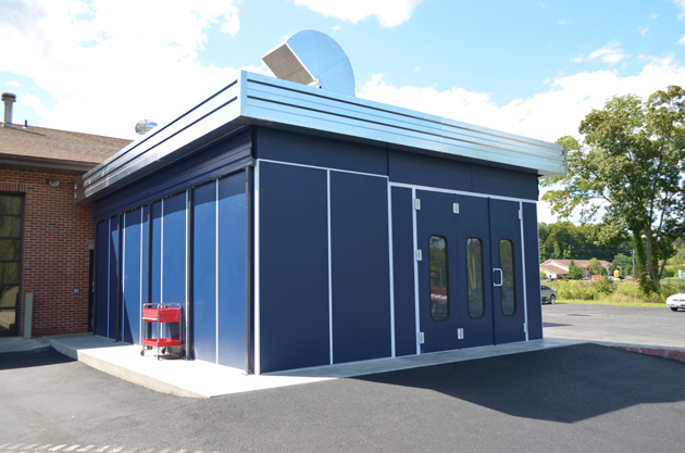 Accudraft Outdoor Automotive Paint Booth In Accudraft Blue