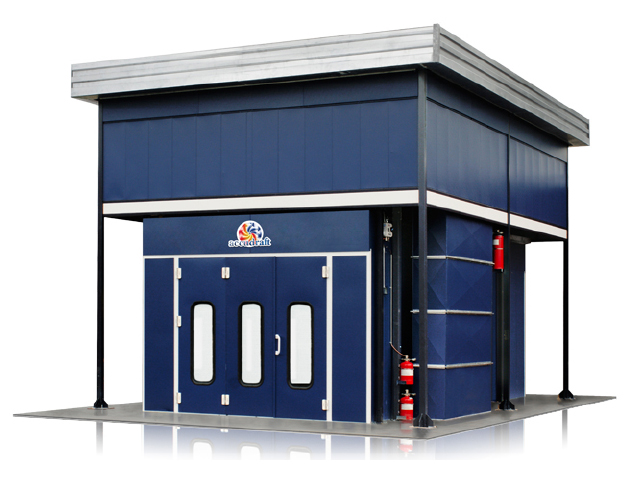 Accudraft-Outdoor-Paint-Booth-Overhead-Mechanical-Enclosure-in-Blue-Exterior-Vinyl-Color