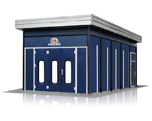 Accudraft-Outdoor-Paint-Booth-Rear-Enclosure-in-Blue-Exterior-Vinyl-Color