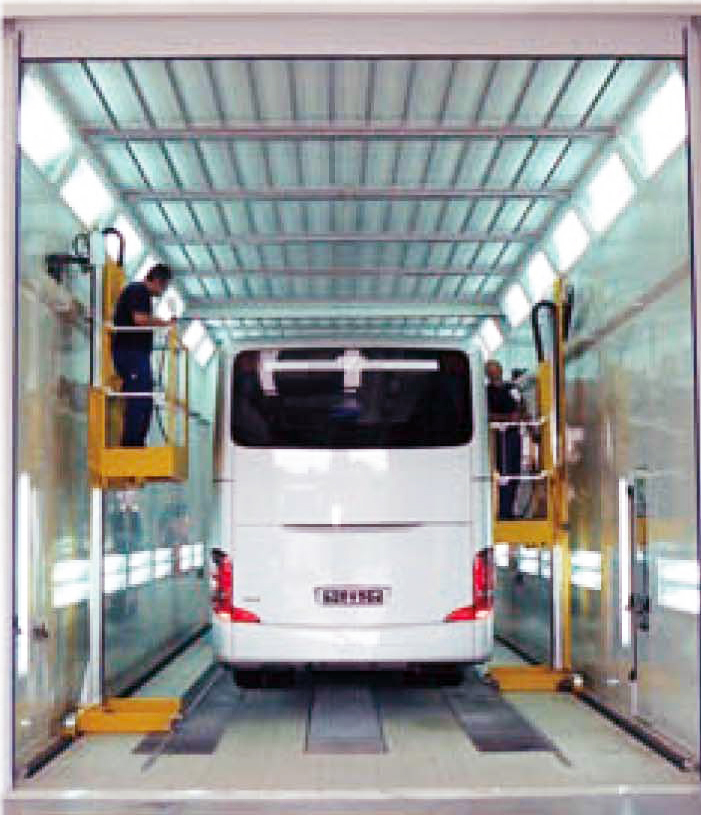Paint-Booth-Painters-Lifts-3-Axis-2-Axis Mounted to Wall of Truck Paint Booth