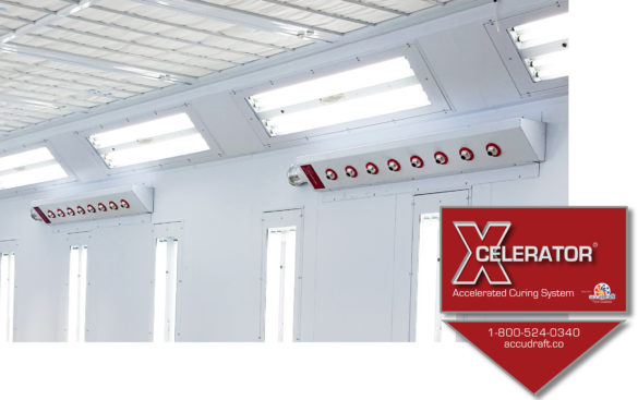 Xcelerator-Waterborne-Paint-Drying-System-Installed-In-A-Paint-Booth-with-Product-Sticker