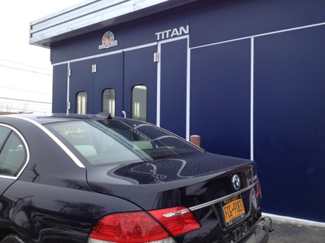 Outdoor Titan Accudraft downdraft paint booth