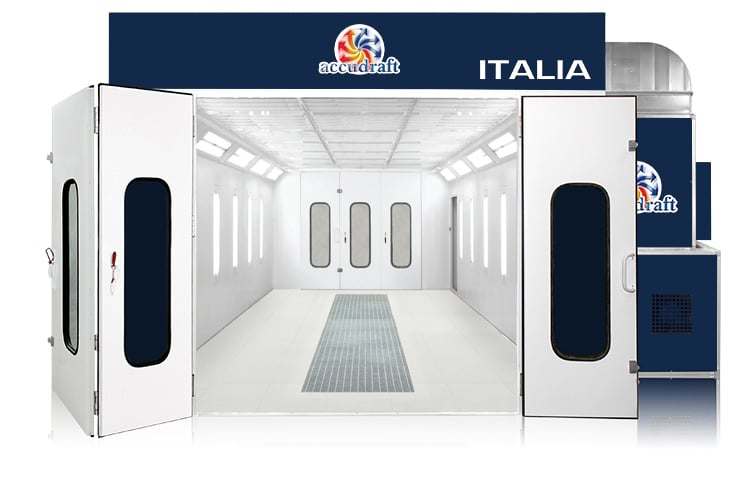 Italia paint booth in blue