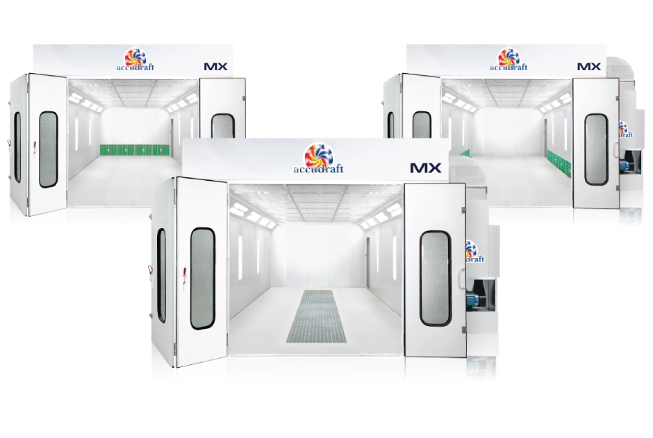 MX Series paint booth in different drafts