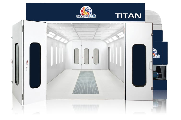 Titan paint booth in blue