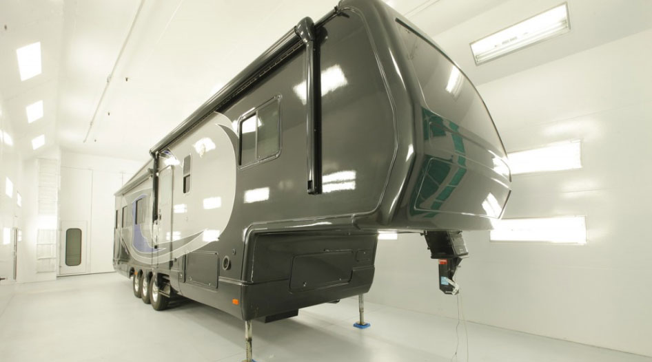 RV inside of a large sized paint booth