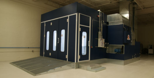 Blue Accudraft paint booth installation