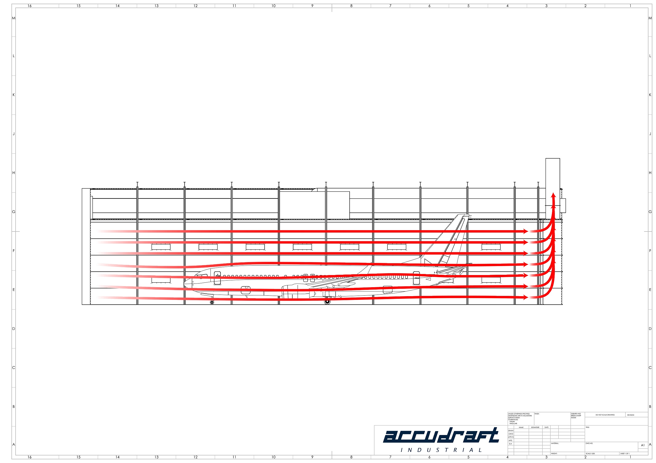 Aerospace airflow reduction drawing