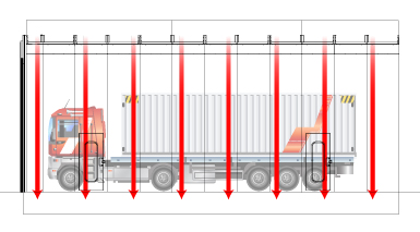 Downdraft airflow diagram for truck paint booth
