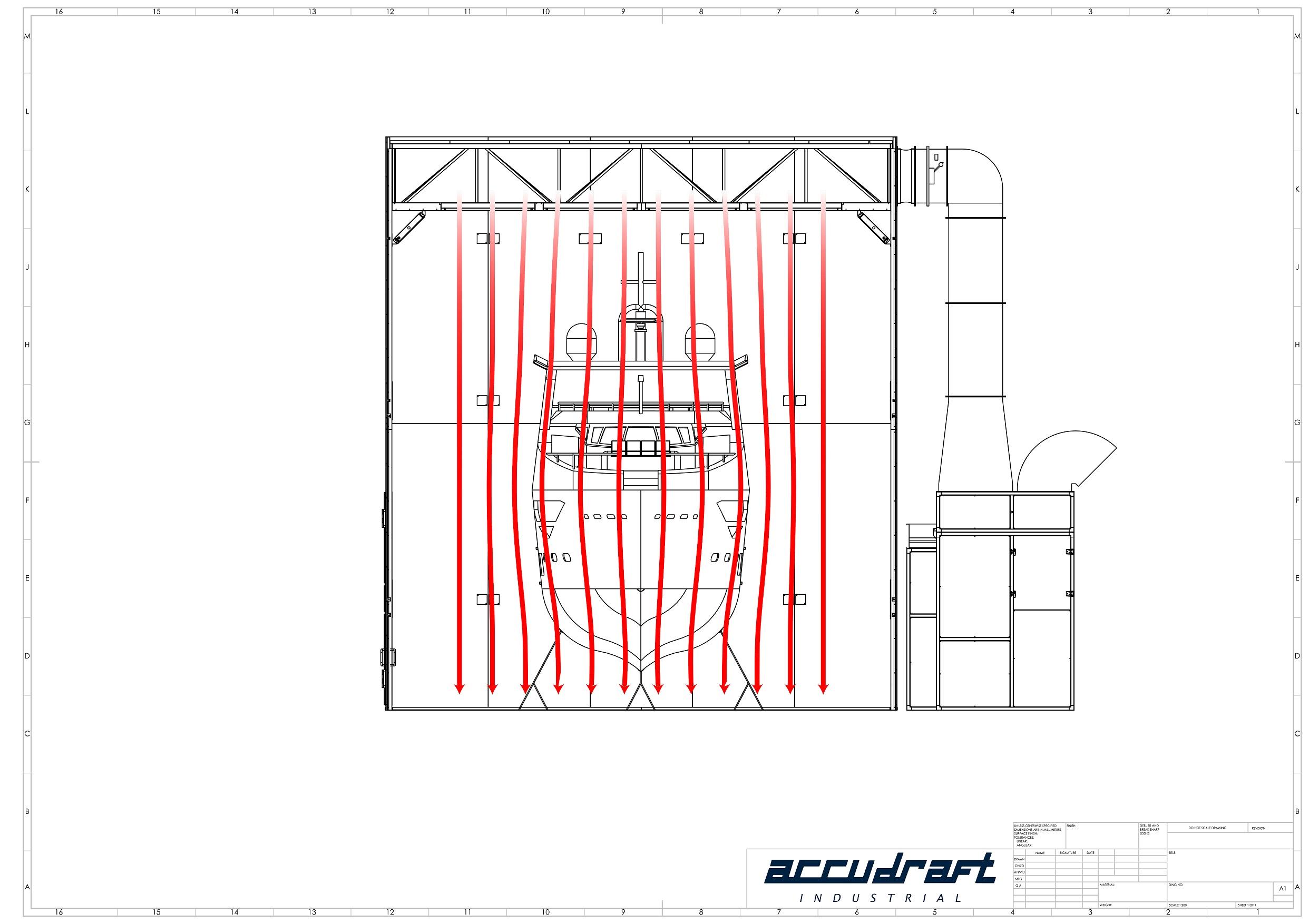Marine paint booth airflow design