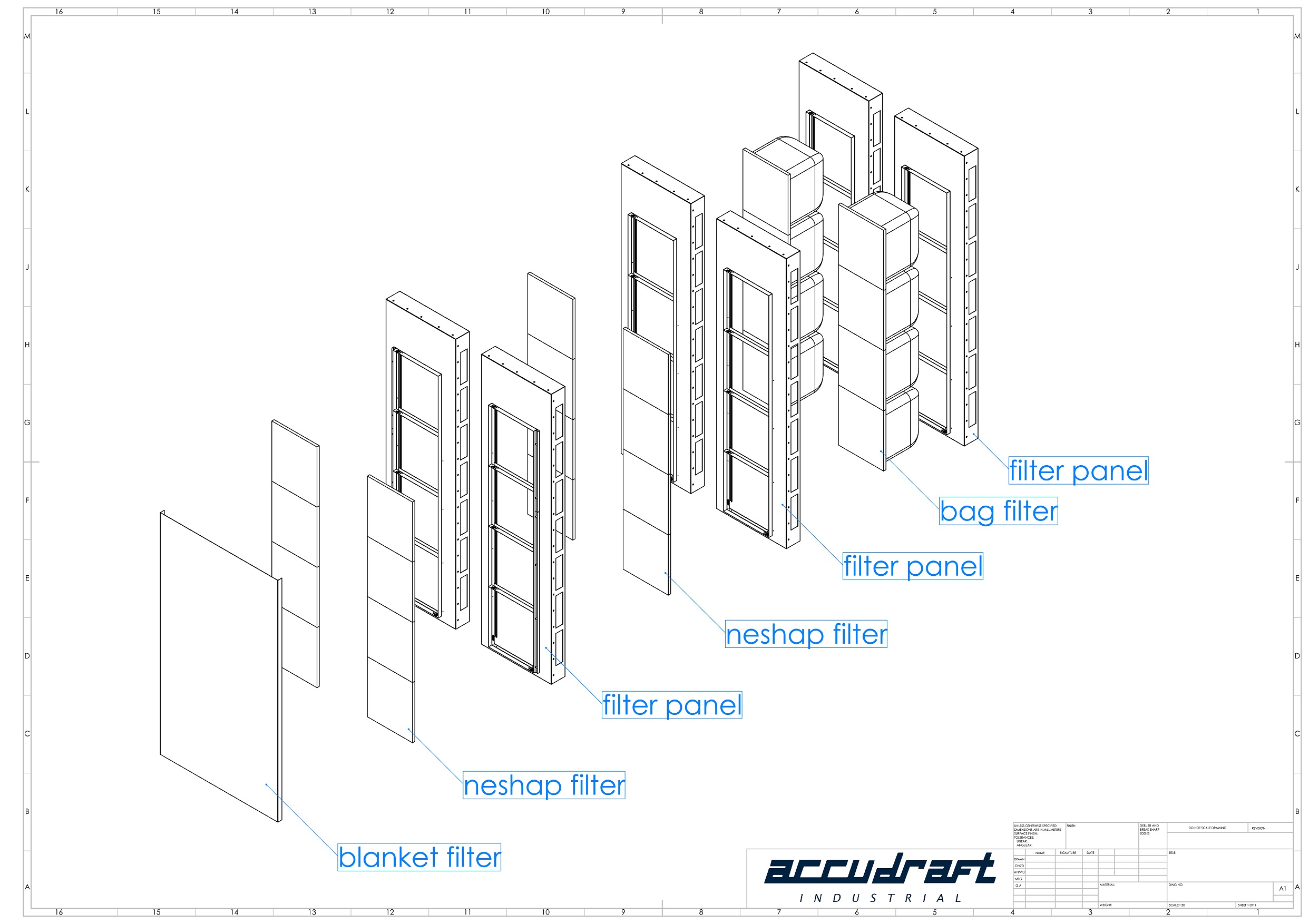 Marine paint booth filter layer diagram