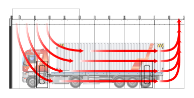 Semi downdraft airflow diagram for truck paint booth