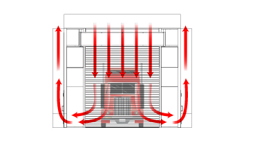 Side downdraft airflow diagram for truck paint booth