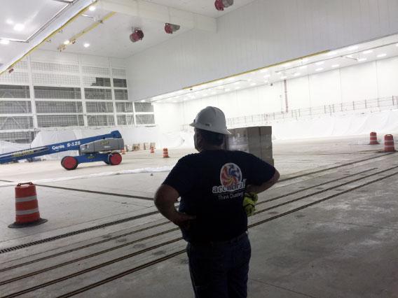 Accudraft engineer inside aerospace hanger