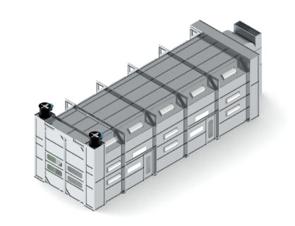 Exterior design of a truck paint booth