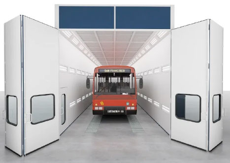 Truck inside a paint booth with multi-fold doors