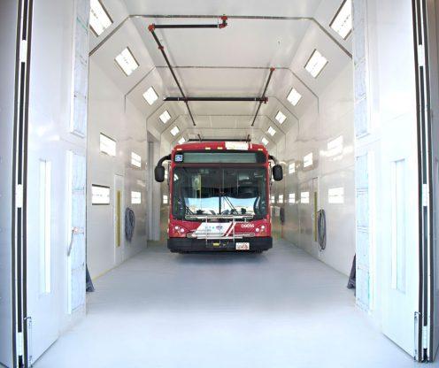 Utah Transit bus inside Accudraft paint booth